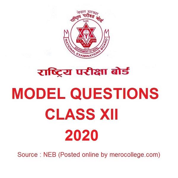 NEB 12 Model Questions 2020 Maths